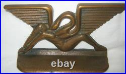 Antique Art Deco Nude Winged Lady Cast Iron Bronze Art Statue Sculpture Bookends