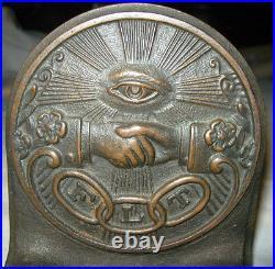Antique Art Deco Odd Fellow Cast Iron Hand Eye Statue Sculpture Bookends Bronze