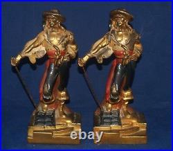 Antique Art Deco Pair Of Pirate Figural Book Ends Armor Bronze Clad