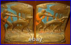 Antique Art Deco Pompeian Bronze Nude Girl Dogs Diana & Hounds Bookends