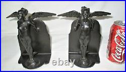 Antique Art Deco Ronson Nude Wing Lady Earth Revival Statue Sculpture Bookends
