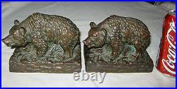 Antique Art Deco USA Armor Bronze Clad Wild Bear Statue Sculpture Book Bookends