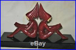 Antique Art Deco USA Gerdago Lady Pixie Woman Art Statue Sculpture Book Bookends