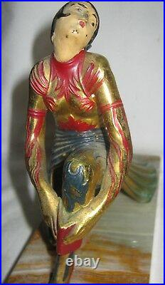 Antique Art Deco USA Gerdago Lady Woman Art Statue Sculplture Marble Bookends Ny