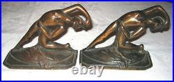 Antique Art Nouveau Cast Iron Nude Deco Lady Bust Statue Dance Desk Bookends Toy