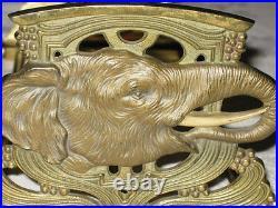 Antique Art Nouveau Deco Cast Iron Elephant Tusk Ivory Zoo Bookends Book Rack