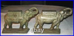 Antique Art Nouveau Deco Elephant Statue Bookends Circus Cast Iron Book Ends
