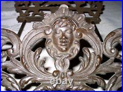 Antique Art Nouveau USA Cast Iron Bookends Book Rack Lady Bust Nude Deco Holder