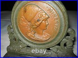 Antique Art Nouveau Victorian Lady Bust Hat Art Statue Deco Sculpture Bookends