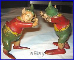 Antique Austrian Bronze Fairy Elf Jester Clown Gnome Pixie Art Statue Bookends