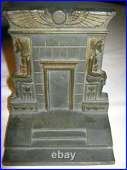 Antique B&h Bradley Hubbard Art Deco Egyptian Revival Cast Iron Statue Bookends