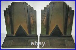 Antique B&h Industrial USA Art Deco Bradley Hubbard Cast Iron Building Bookends