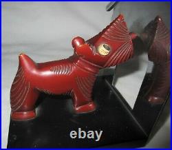 Antique Bakelite Chrome Scottish Terrier Dog Art Statue Sculpture Book Bookends