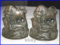 Antique Bison Buffalo Hunt Art Statue Bookends Cast Iron Dog Book Sculpture Deco