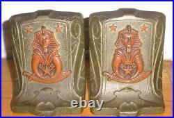 Antique Bradley & Hubbard Or Judd Shriners Sphinx Cast Iron Bookends Art Deco