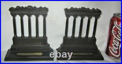 Antique Bradley Hubbard Temple Of Saturn USA Art Deco Cast Iron Statue Bookends