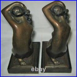 Antique Bronze Clad USA Nude Lady Bust Art Deco Statue Sculpture Book Bookends