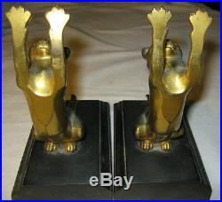 Antique C. 1932 Art Deco Gold Metal Cat Desk Art Statue Sculpture Book Bookends