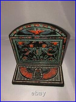 Antique CJO JUDD Art Deco EGYPTIAN REVIVAL Cast Iron BIRD STATUE EGYPT BOOKENDS