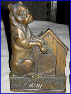 Antique Cast Iron Dog House Art Bookends Bronze Sculpture Statue Hubley Deco