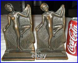 Antique Cast Iron Nude Dancing Lady Art Deco Statue Sculpture Verona Bookends