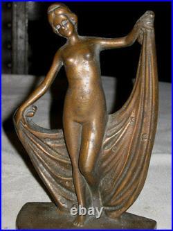 Antique Cast Iron Nude Lady Bust Dancing Bookends Bronze Art Deco Sculpture Book