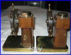 Antique Chase Art Deco Bakelite Brass Roulette Nautical Sea Ship Wheel Bookends