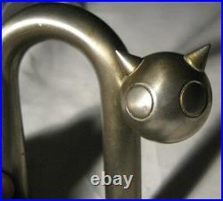 Antique Chase Industrial Chrome Steel Art Deco Cat Statue Sculpture Bookends