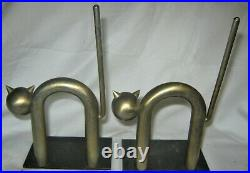 Antique Chase USA Industrial Chrome Steel Art Deco Cat Kitten Us Statue Bookends