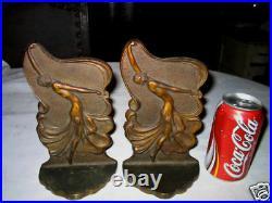 Antique Chic Art Deco Bronze Dress Bookends Nude Book Dancing Statue Cast Iron