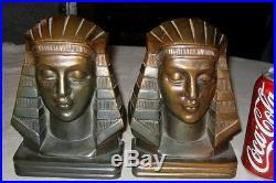 Antique Egyptian Revival Art Deco Nude Lady Bust Art Statue Sculpture Bookends