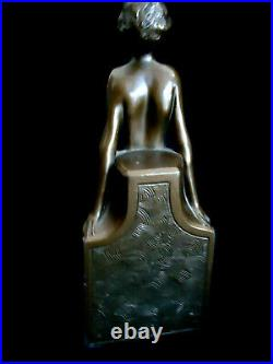 Antique Frankart Art Deco Bookends Nymphs And Leaves- Bronze Finish #518