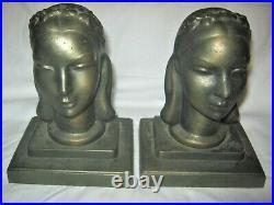 Antique Frankart Inc. USA Art Deco Lady Bust Head Statue Sculpture Book Bookends