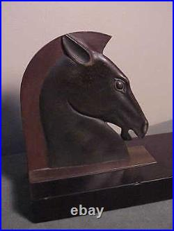 Antique French Art Deco Bronze Book-ends Roman Horse Head On Marble E. Guy