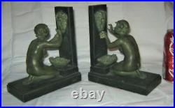Antique French Art Deco Bronze Lady Bacchus Wine Water Fountain Statue Bookends