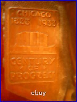 Antique French Art Deco Jester Bookends Original Labels 1833-1933 Chicago Fair