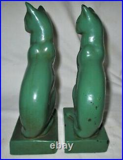Antique Galvano Bronze Clad Art Deco Frankart Era Paint Cat Sculpture Bookends