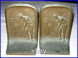 Antique Golf Player Art Nouveau Deco Bronze Bookends Club House Golfer Ball Tee