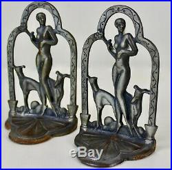 Antique Greyhounds Whippets Nude Figure Bookends Art Deco Metal Waterfall Frame