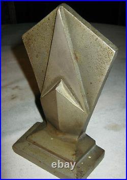 Antique Hubley Geometric Cast Iron Chrome Art Deco Building Statue Bookends Tool