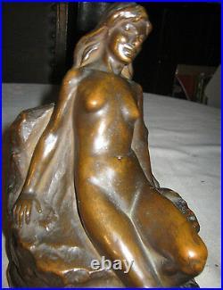 Antique J. Ruhl Huge Art Deco Armor Bronze Nude Statue Lady Sculpture Bookends