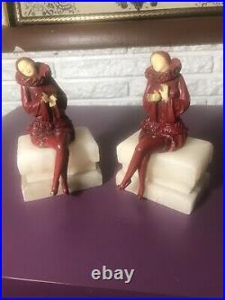 Antique JBHirsch Pierrot Art Deco Scarlet Red Enamel Figurine Harlequin Bookends