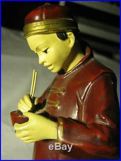 Antique Jb Hirsch Chinese Man Art Statue Sculpture Metal Painting Food Bookends