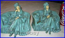 Antique Jb Hirsch Lady Dress Bust Chair Art Sculpture Statue Bookends Deco Couch