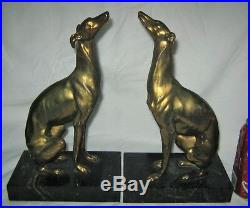 Antique Jennings Brothers Art Deco Whippet Borzoi Greyhound Dog Statue Bookends
