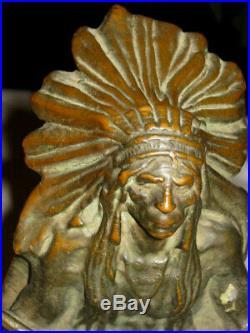Antique Kbw Bronze American Indian War Chief Art Statue Sculpture Rifle Bookends