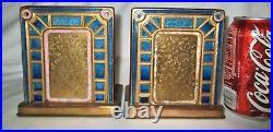 Antique L. C. T. Tiffany Studios Furnaces Favrile Art Deco Bronze Enamel Bookends