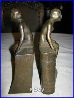 Antique Lg. Art Deco Cast Iron Nude Lady Bust Statue Sculpture Book Bookends