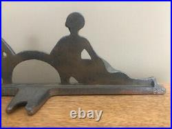 Antique Lovely Vintage Art Deco Cast Iron Bookends Doorstops Two Naked Ladies