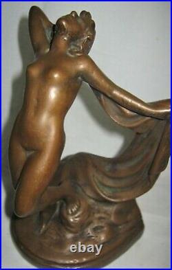 Antique Marion Bronze Clad Nude Dance Lady Woman Art Sculpture Statue Bookends